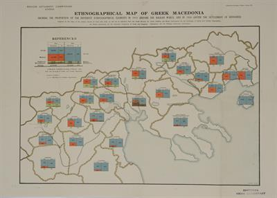 """ETHNOGRAPHICAL MAP OF GREEK MACEDONIA, SHOWING THE PROPORTION OF THE DIFFERENT ETHNOGRAPHICAL ELEMENTS IN 1912 (BEFORE THE BALKAN WARS), AND IN 1926 (AFTER THE SETTLEMENT OF REFUGEES)"". Εθνογραφικός χάρτης της Μακεδονίας από την Επιτροπή Αποκαταστάσεως Π"